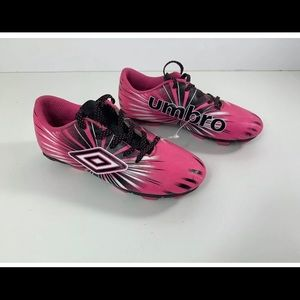 Girls Umbro pink and black soccer cleats size 13k